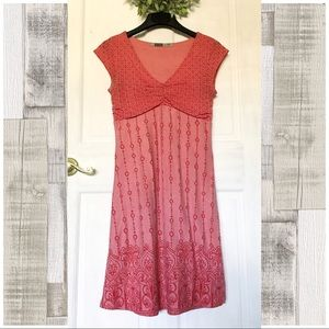 Athleta Red Boho Casual Dhara Burnout Dress Sz M